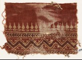 Textile fragment with stylized bodhi leaves, chevrons, and zigzag (EA1990.575)