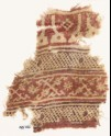 Textile fragment with bands of arches or stupas, dots, and crosses made of tendrils (EA1990.581)
