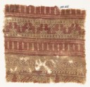Textile fragment with bands of poles, zigzag, plants, vine, and tendrils (EA1990.605)