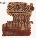 Textile fragment with stylized trees or leaves, rosettes, and stepped squares (EA1990.607)