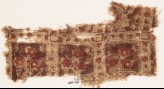 Textile fragment with squares, vines, and flowers