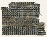 Textile fragment with diamond-shapes, lobed squares, and dots