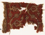 Textile fragment with dotted tendrils, leaves, and rosettes (EA1990.832)
