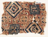 Textile fragment with squares, circles, and quatrefoils (EA1990.1009)