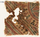 Textile fragment with stylized bodhi leaves, rosettes, and tendrils (EA1990.1036)