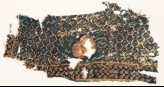Textile fragment with rose and grid of medallions and rosettes