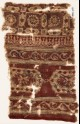 Textile fragment with elongated hexagons, vines, and linked squares