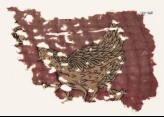 Textile fragment with hen and chicks