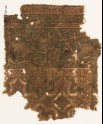 Textile fragment with flower-heads, diamond-shape, and inscription