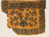 Textile fragment with basket and tree