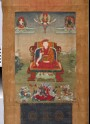 Enthroned red-crowned lama with the Buddha and deities