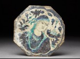 Octagonal tile with woman