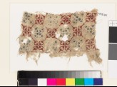 Textile fragment with quatrefoils and lattice of diamond-shapes (EA1993.201)