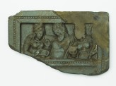 Lid or palette with the drunken Heracles supported by two female attendants (EA1993.24)