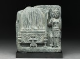 Relief fragment depicting a female warrior guarding the Buddha's relics