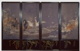 Screen with cormorants fishing at night