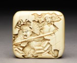 Manj netsuke depicting Benkei leaping over the warrior Minamoto Yoshitsune