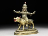 Figure of Las Mkhan damar po, acolyte of Beg-tse god of war, on a wolf (EA2006.32)