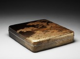 Suzuribako, or writing box, with cherry trees on a river bank (oblique)