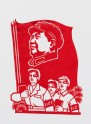 Three Red Guards with Chairman Mao banner