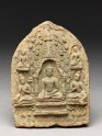 Votive plaque of the Buddha seated inside a stupa