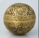 Spherical incense burner with floral decoration