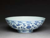 Blue-and-white bowl with lotus scrolls (oblique)