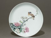 Dish with a bird on a branch