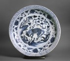Blue-and-white dish with a kylin, or horned creature