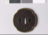 Mokkō-shaped tsuba with pearled brass rim (EAX.10081)