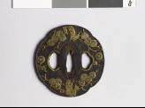 Mokkō-shaped tsuba with pine tree