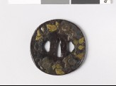 Round tsuba with clematis spray