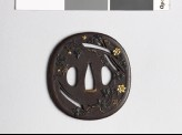 Tsuba with clematis, susuki grass, and mon crests of the Katagiri family (EAX.10301)