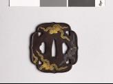 Aoi-shaped tsuba with kiri, or paulownia, leaves