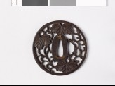 Round tsuba with Cissus leaves