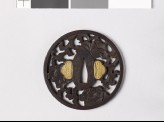 Round tsuba with peonies and a karakusa, or scrolling plant pattern (EAX.10390)