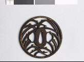 Round tsuba with grass and dewdrops (EAX.10429)