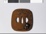 Tsuba depicting a sakaki branch with gohei, or papercut pendants