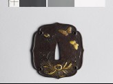 Aoi-shaped tsuba with peonies and butterflies (EAX.11078)