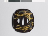 Mokkō-shaped tsuba with wild geese amid clouds (EAX.11091)