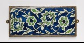 Rectangular frieze tile with scrolling peonies