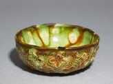 Bowl with floral decoration and three-colour glaze (oblique)
