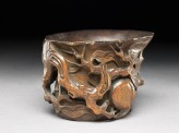 Bamboo cup with peach branches (oblique)
