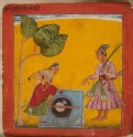 A lady and prince at a well, illustrating the musical mode Raga Kumbha