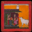 A lady and a bull, illustrating the musical mode Bhairavi Ragini