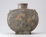 Funerary flask, or bian hu, with handles and animal mask decoration
