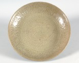 Greenware dish with peony decoration