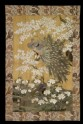 Peacock and peahen with cherry blossom and peonies