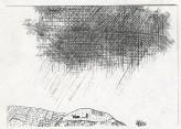 Figure ploughing field looking at a rain cloud