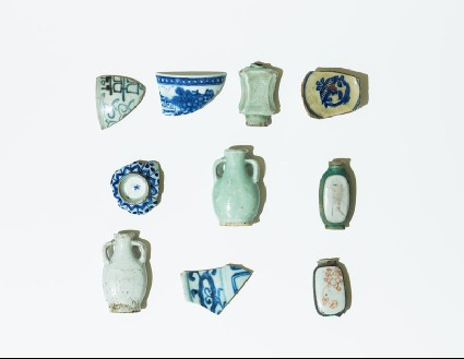 Group of perfume bottles and cup sherdsgroup